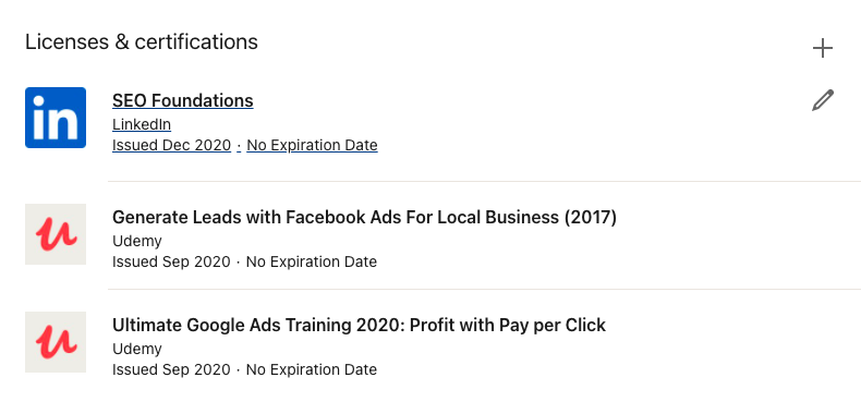 LinkedIn Licenses and Certifications